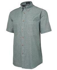 ballarat embroidery cotton chambray shirt green stitch