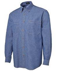 ballarat embroidery cotton chambray shirt tan stitch
