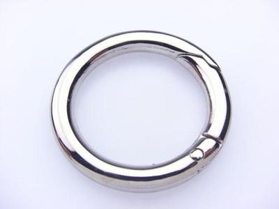 circular carabiner with nickel finish
