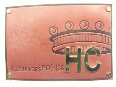 leather label with metal
