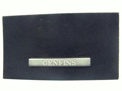 leather label with zamak plaque