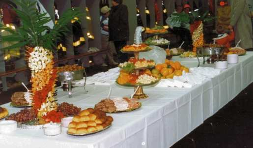 Buffet table with dishes