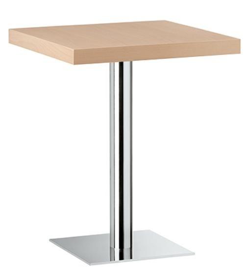 un tavolo di legno con piede di alluminio