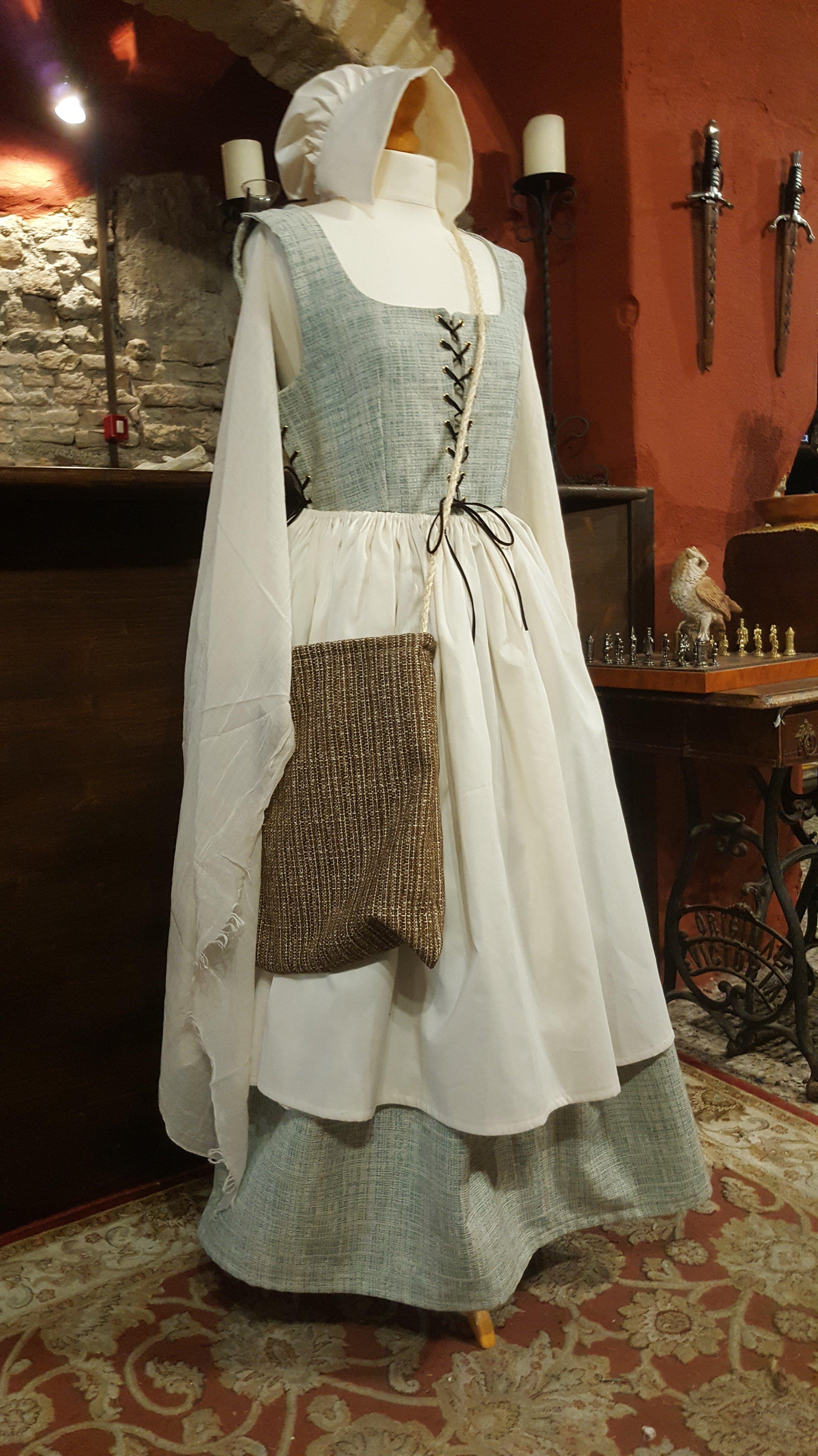 Vestito da popolana bianco con corpetto azzurro