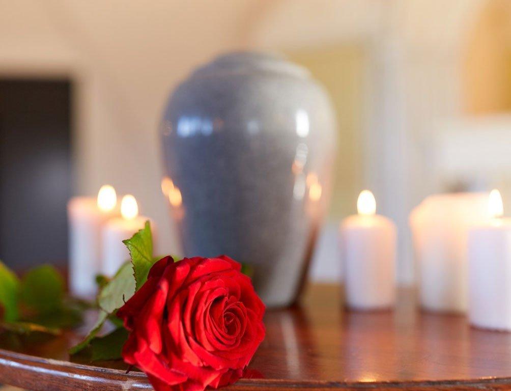 Rosa su tavolo con ceri e urna