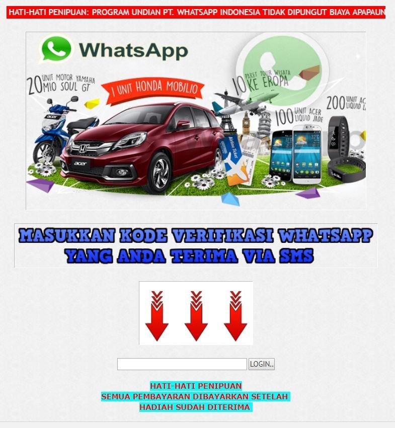 Broadcast Sms Penipuan Hadiah Whatsapp