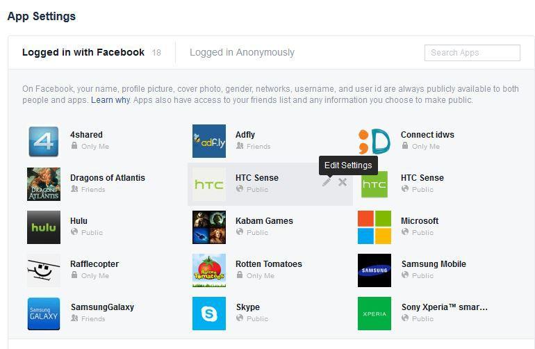 Gambar 8, Klik [Edit Settings] pada salah satu apps Facebook