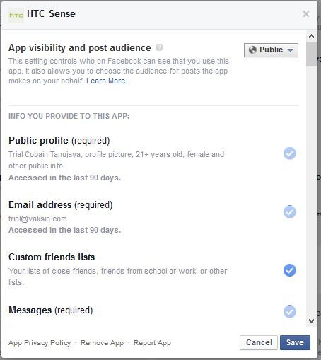 "Gambar 9, Menu ""Edit Settings"" pada Facebook Apps"