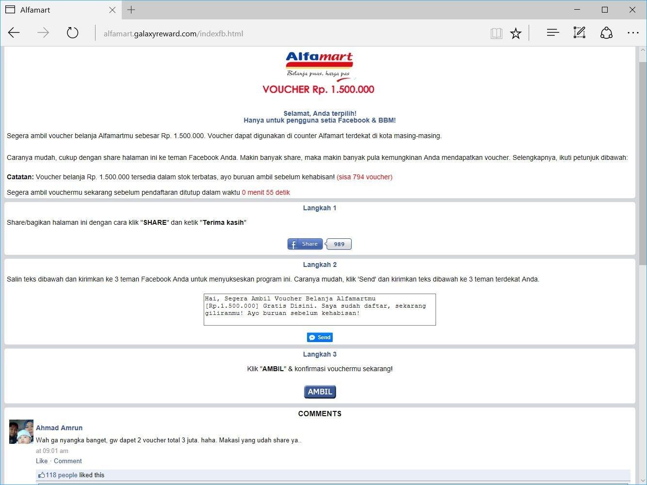 Alfamart Facebook Scam Voucher Belanja Indomaret 1500000 Gambar 2 Syarat Mendapatkan Adalah Share Ke Wall Fb Atau Messenger