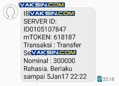 TFA – OTP via SMS yang dinamai mTOKEN oleh salah satu bank nasional
