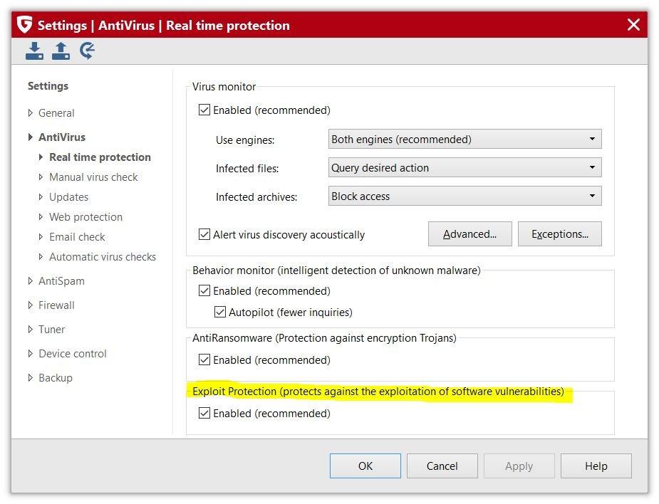 Exploit Protection akan melindungi anda dari eksploitasi piranti lunak yang belum di tambal