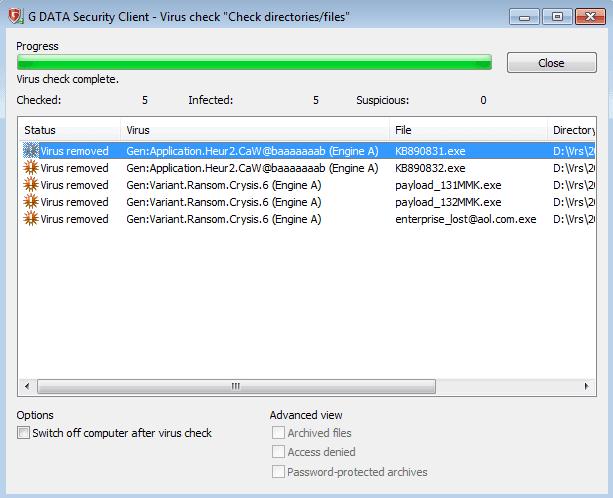 Gambar 1, Hasil deteksi Crysis oleh G Data