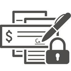 pen writing check with a lock icon