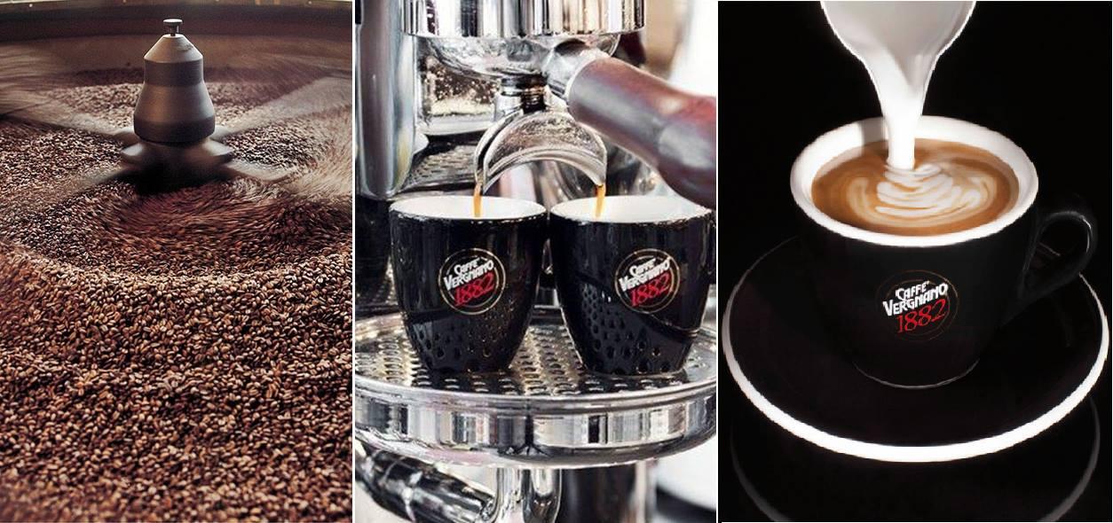 Tre immagini, la prima con un macinino con dei chicchi di caffè, la seconda raffigurante una  macchina del caffè mentre versa il caffè nelle tazzine e la terza di  una tazza di cappuccino con scritto Caffe vergnano 1882