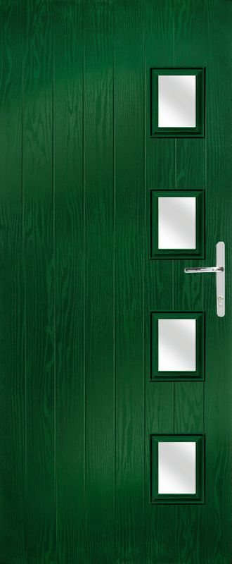 green coloured door
