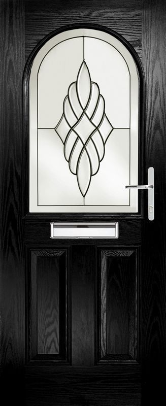 glass design on the black door