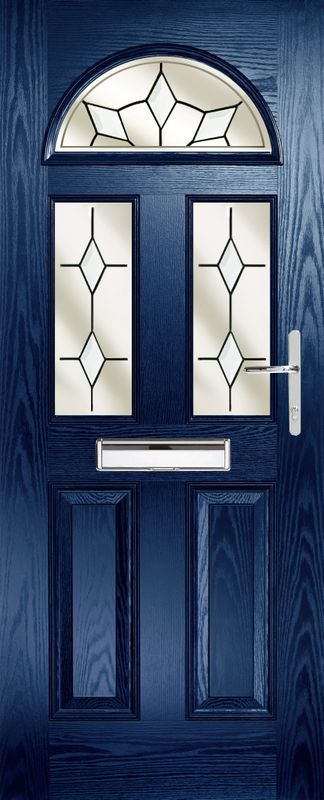dark blue coloured door