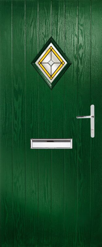 green door with a silver latch