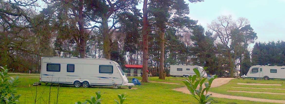 caravan in a garden