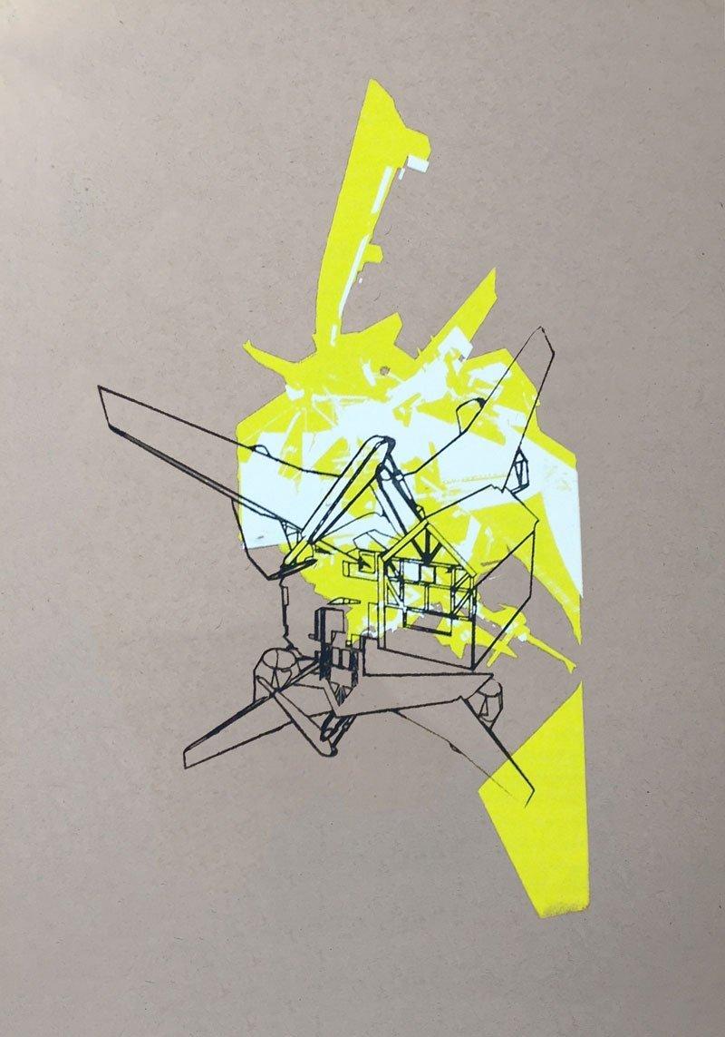 adam guy, crash, art, collage, artists, British artist, planes, suburbia, contemporary art, adam guy contemporary artist, artwork, print, screenprint