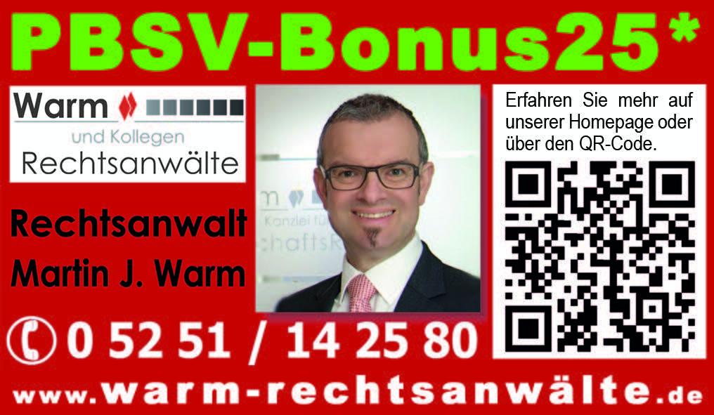 An dieser Stelle befindet sich der Gutschein PBSV-Bonus25 aus dem Schützen Jornal 2017 für den Kreis Paderborn der Anwaltskanzlei Warm & Kollegen Rechtsanwälte