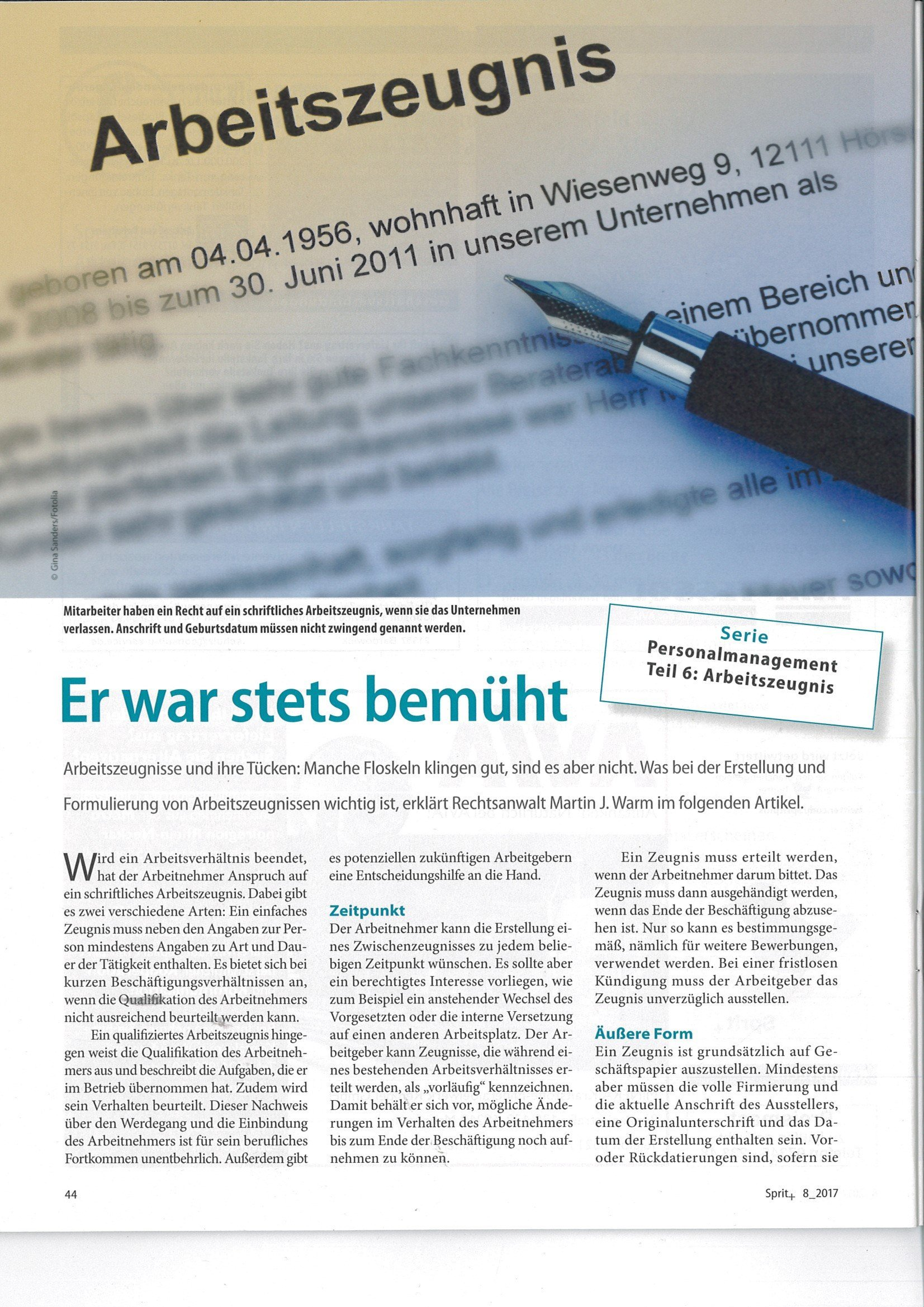 "sprit + Ausgabe 8.2017: PERSONALMANAGEMENT Teil 6 ARBEITSrecht: ""Er ..."