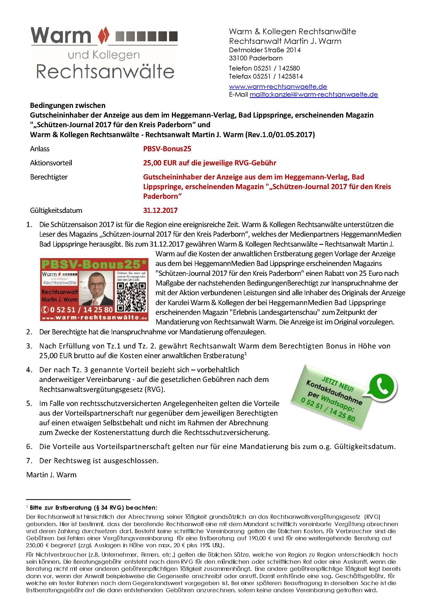 Hier finden Sie die Bedingungen Bedingungen zwischen  Gutscheininhaber der Anzeige aus dem im Heggemann-Verlag, Bad Lippspringe, erscheinenden Magazin
