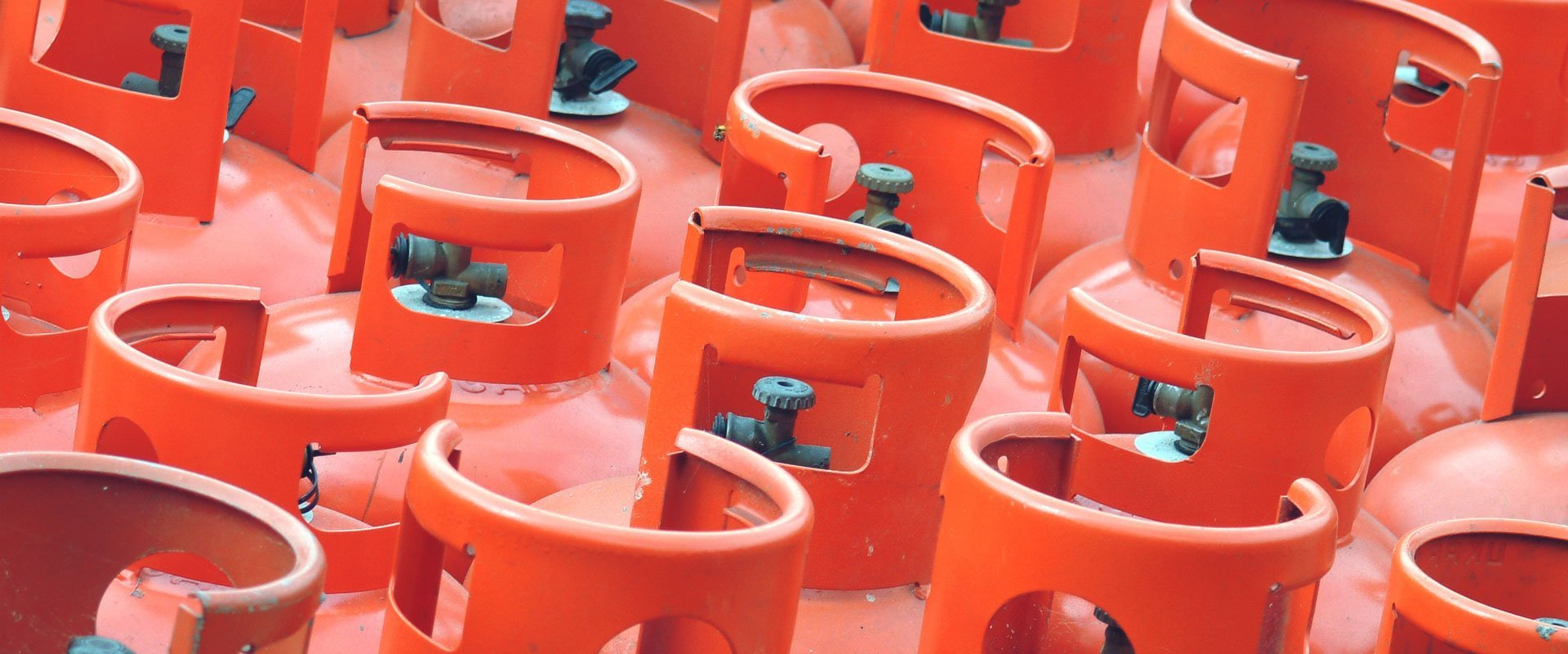 red coloured gas cylinders