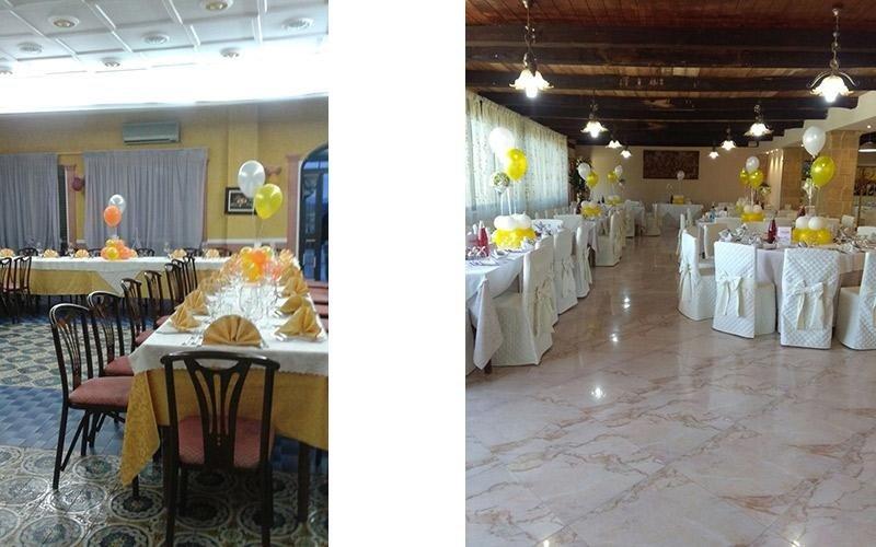 Allestimento tavoli con palloncini