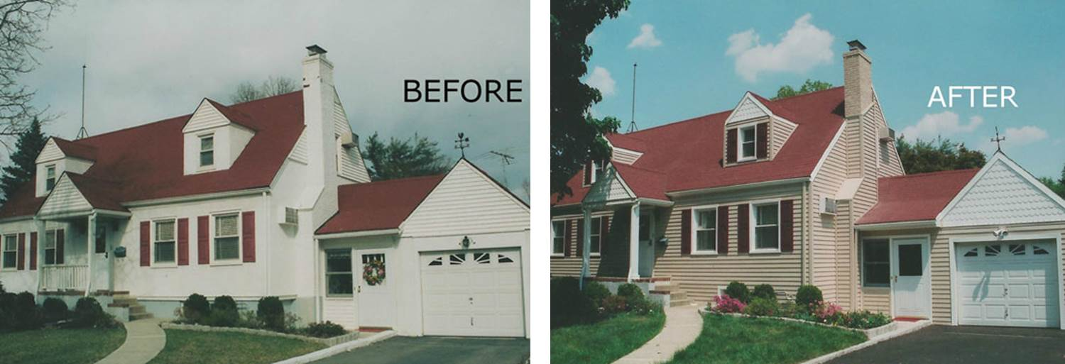 Before and after pictures of a seamless siding contractor and his work in Lincoln, NE. The siding is vinyl.