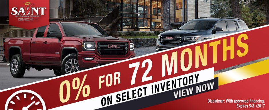 0% for 72 months on select 2016 - 2017 GMC Sierra Regular & Double Cabs