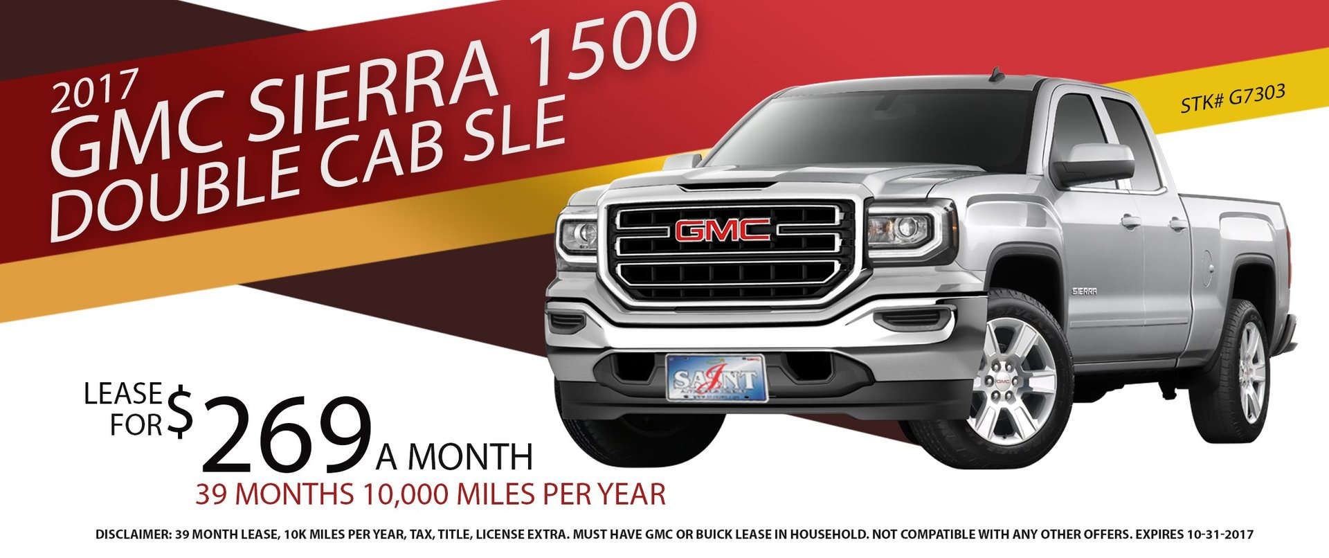 Lease a new 2017 GMC Sierra 1500 Double Cab SLE for $269/month !