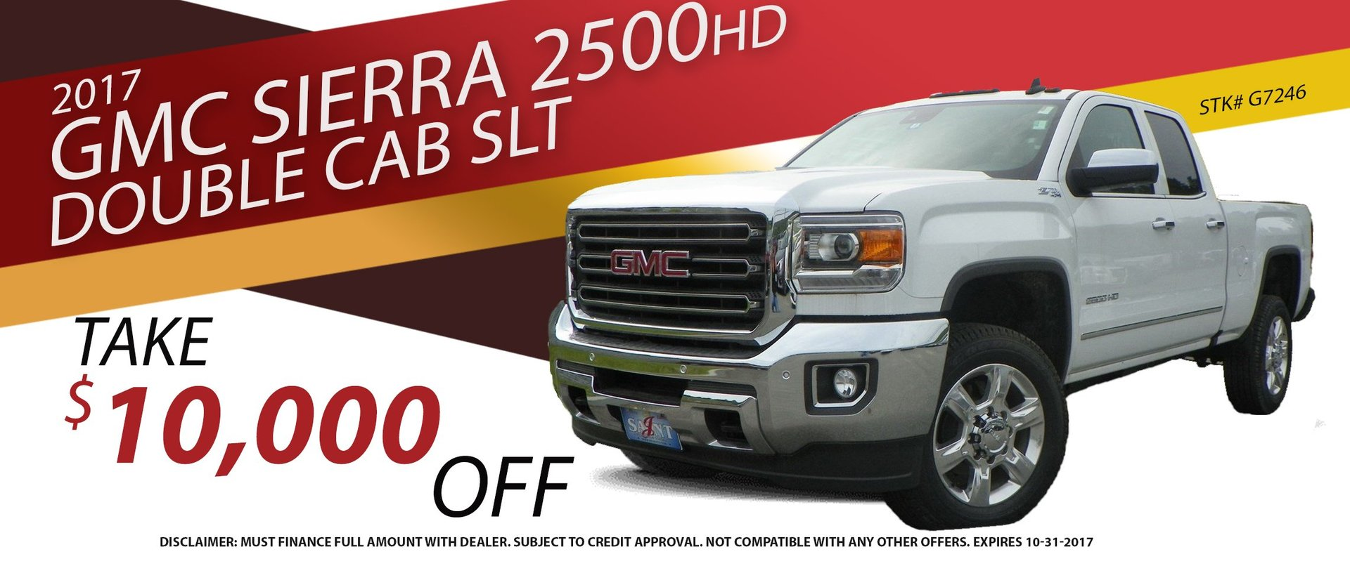 Take $10,000 OFF an all new 2017 GMC Sierra 2500HD Double Cab SLT