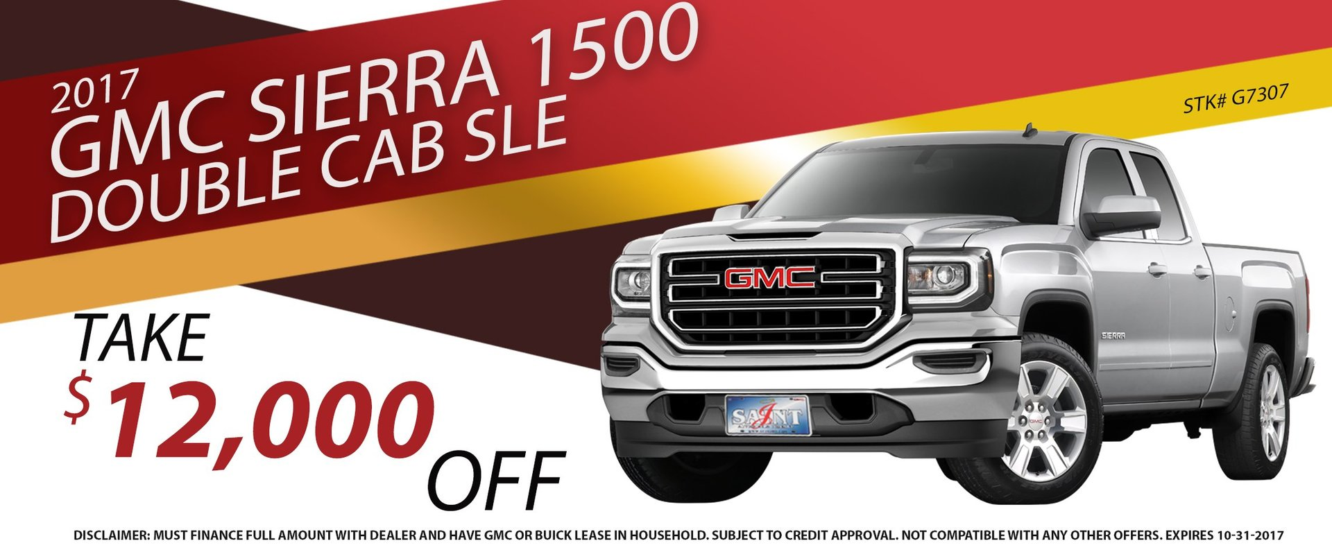 Take $12,000 OFF an all new 2017 GMC Sierra 1500 Double Cab SLE