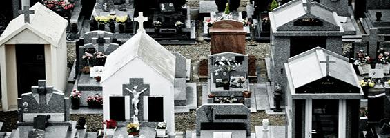 Various monuments at  a graveyard