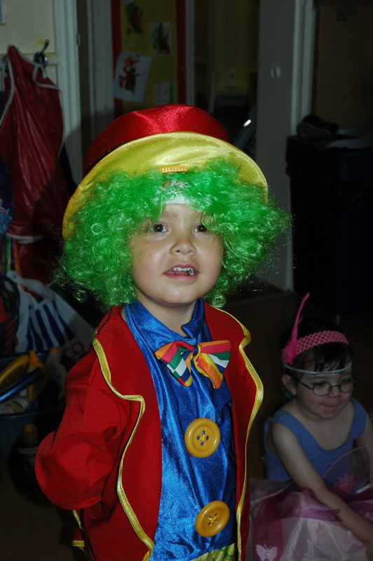 boy with a colourful wig