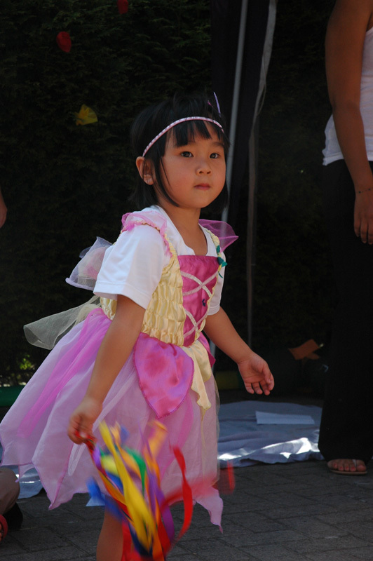 Girl wearing a costume