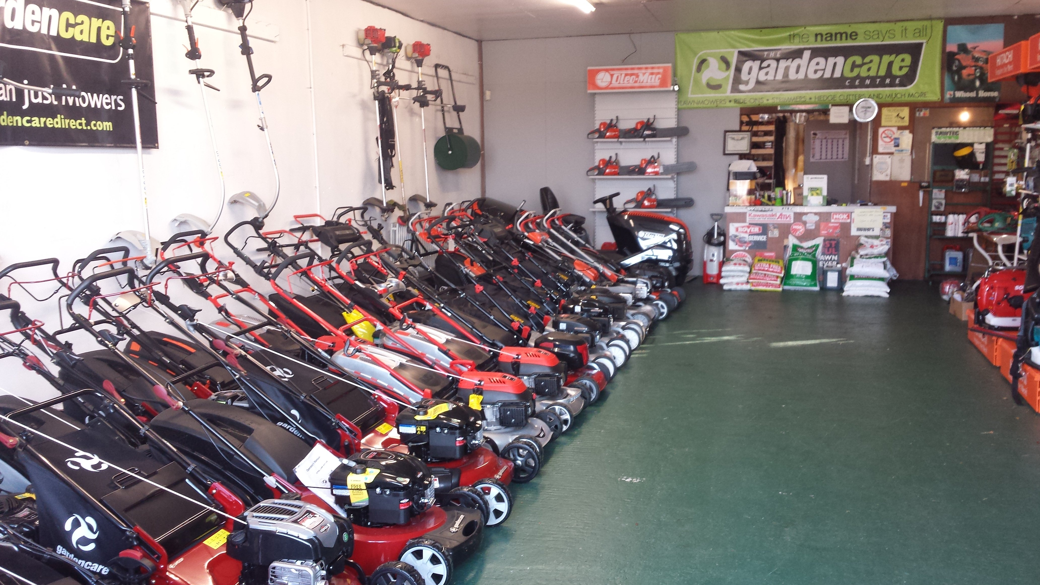 lawnmowers in the shop