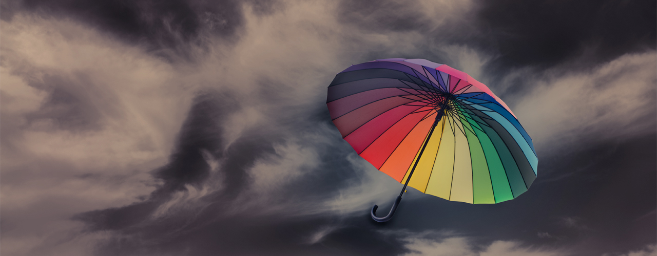 Umbrella flying in the high wind