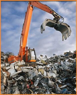 A grabber in a scrap metal yard