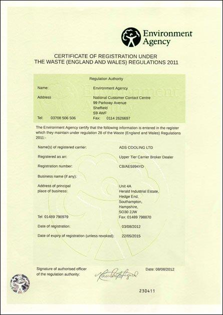 Certificate of registration under waste regulations