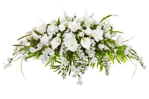 Silk-casket-cover-funeral-flower-arrangement