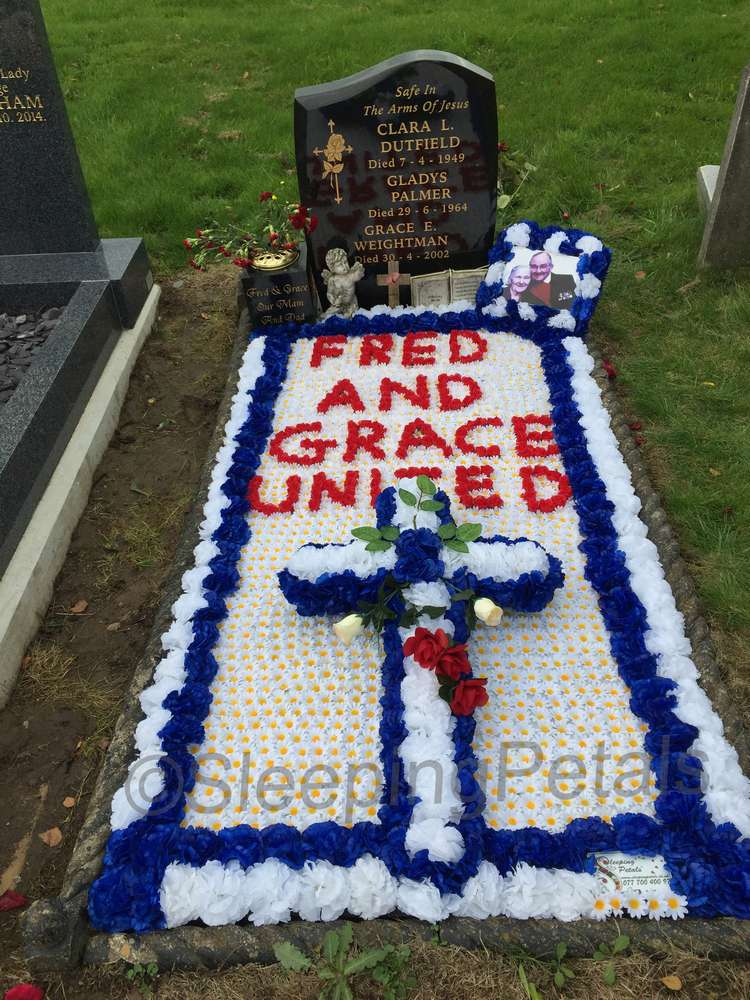 Grave with grave blanket