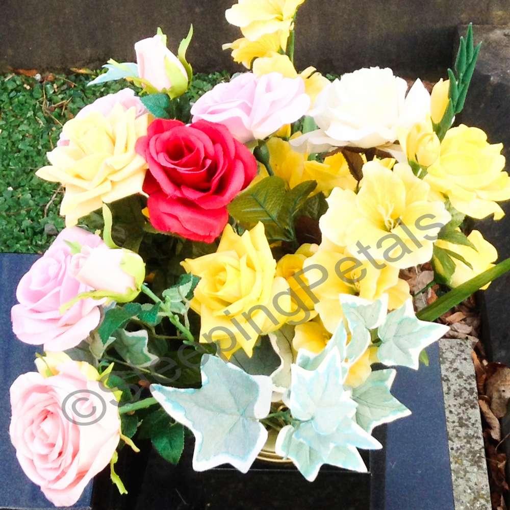 Artificial flower bouquet for graves
