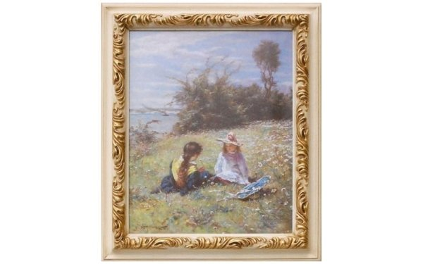 quadro bambine in campo fiorito