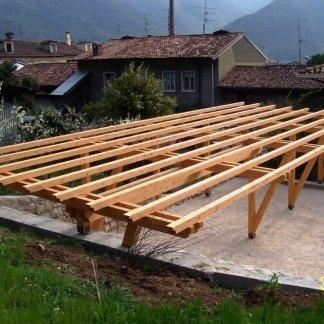 strutture in legno, box auto in legno, posti auto in legno lamellare