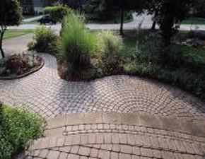 A stylish circular patio area
