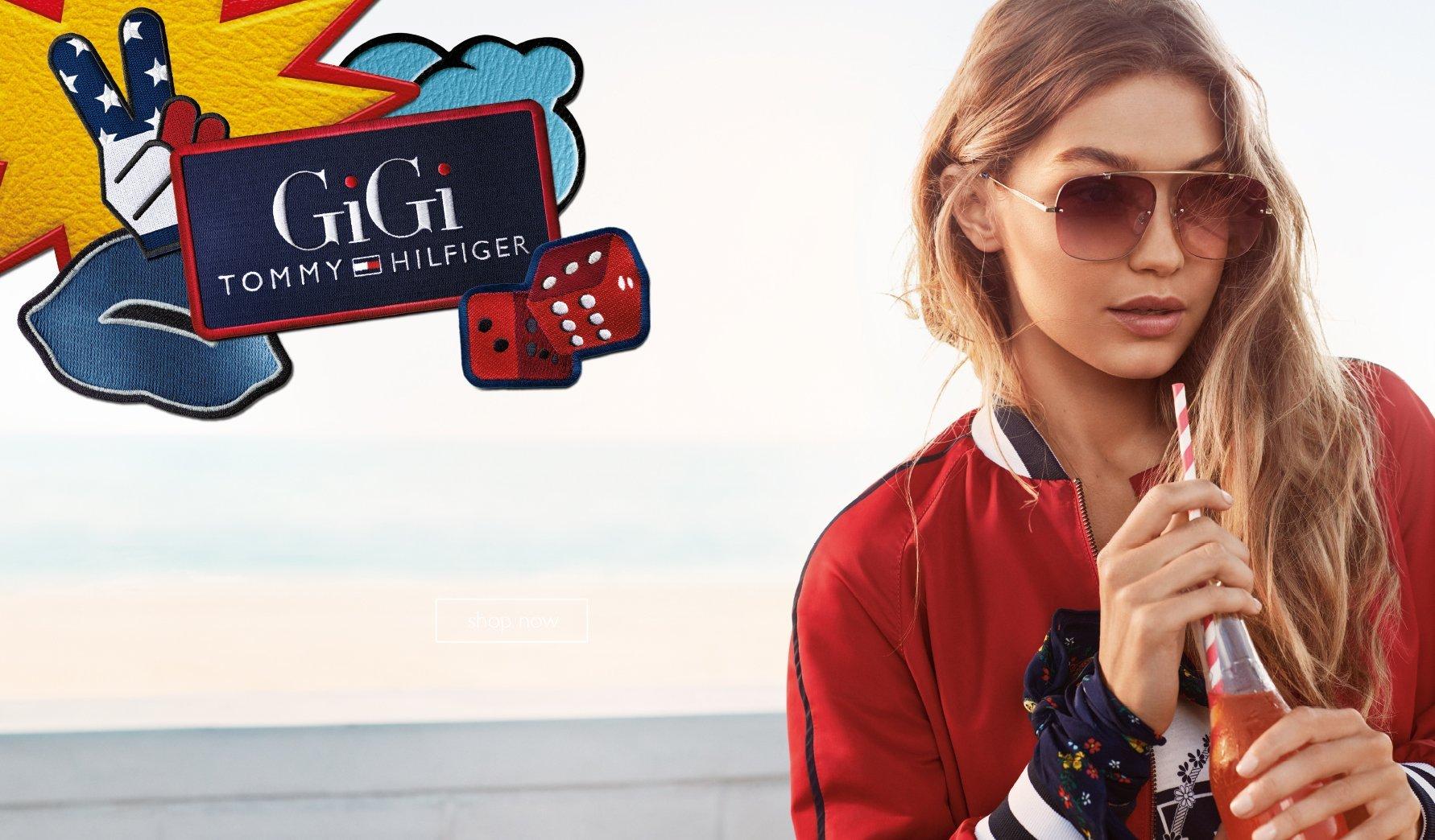 Gigi Hadid con occhiali da sole Tommy Hilfiger