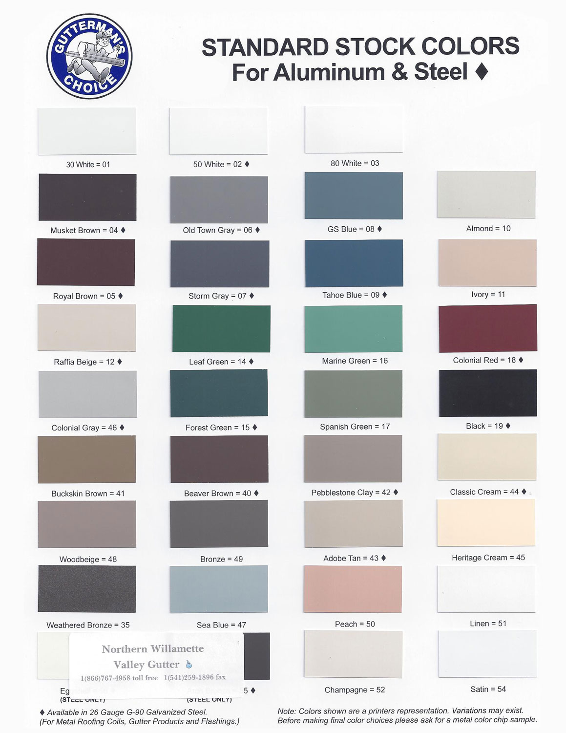 Gallery of available colors