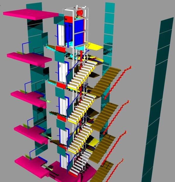 Pianta 3d vano ascensore